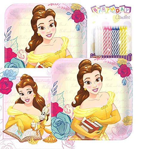 Lobyn Value Pack Beauty and The Beast Party Plates and Napkins Serves 16 with Birthday Candles -
