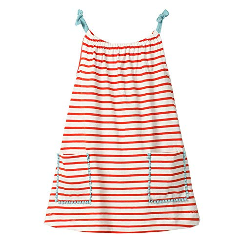 Girl Slip Dress Cosy Summer Stripe Tank Top Sleelveless Vest Shift Shirt Dress with Pocket ()