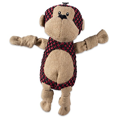 Bone Dry DII Burlap Body Jungle Friends Squeaking Pet Toy, 1 Piece Morris Monkey Plush Toy for Small, Medium and Large Dogs