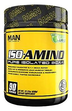MAN Sports Iso-Amino BCAA Powder, Green Apple, 630 Gram