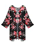 GESSY Black Kimono Cardigan, Women Long Sleeve Plus Size Chiffon Red Rose Floral Print Lightweight Patterned Long Loose Spring Cover up Top Summer Kimono Cardigan Capes Boho Clothing Black XXL