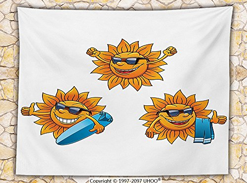 Cartoon Decor Fleece Throw Blanket Surf Sun Characters Wearing Shades and Surfboards Fun Hippie Summer Cartoon Kids Decor Throw Orange White