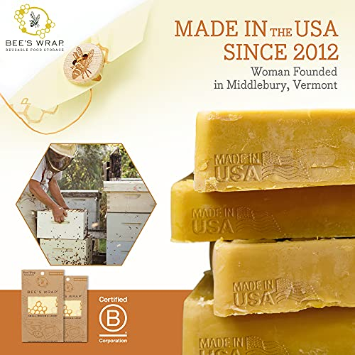 Bee's Wrap – Assorted Set of 3 – Certified B Corporation – No Synthetic Wax or Chemicals – Holds for Up to a Year – Sustainable and Reusable Beeswax Food Wraps with Jojoba Oil – 3 Sizes (S, M, L)