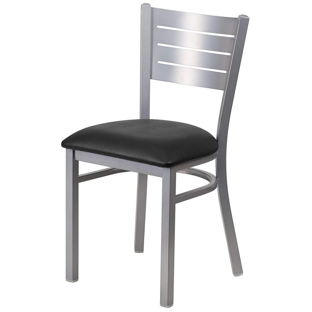 Modern Style Metal Dining Chairs School Bar Restaurant Commercial Seats Slat Back Design Silver Powder Coated Frame Finish Home Office Furniture - (1) Black Vinyl Seat # 2166