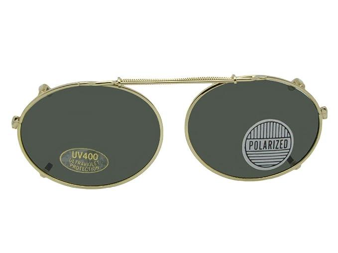 cda7d0a426b Amazon.com  Oval Clip On Sunglasses (Gold Frame-Gray Lenses