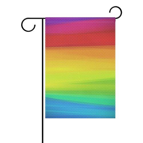 IMOBABY Rainbow Color Polyester Garden Flag Banner 12 x 18 Inch, Seasonal Garden Flag for Outdoors Decorative Flag for Wedding,T221