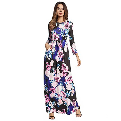 Women's Big Swing Dress Flower Print Round Neck Long sleeves Evening Party Skirt S-XXL , black , xxl from GJX