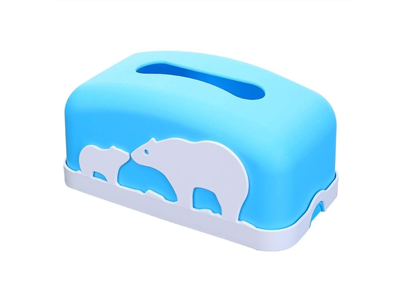 Pullic Tissue Box Cartoon Animal Pattern Tissue Storage Box Tissue Case for Home(Blue)