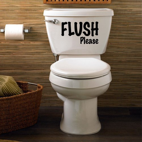 Flush Please Funny Joke Bathroom Toilet Seat Sticker by Inspired Walls® AHGRD014896