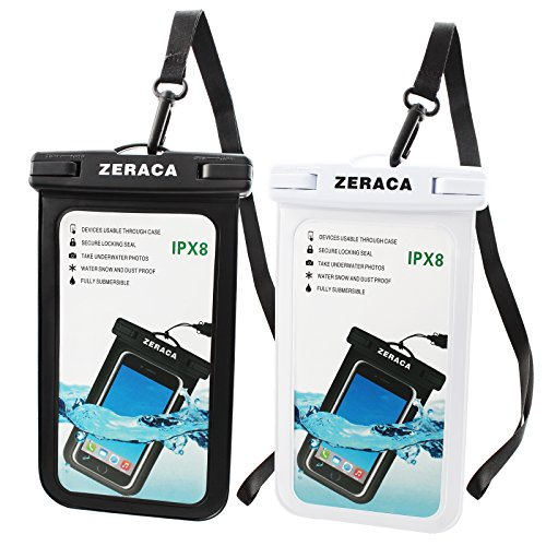 Zeraca Universal Waterproof Case IPX8 Phone Pounch Dry Bag for iPhone 8 8Plus 7 7Plus 6 6s Plus Samsung Google Pixel HTC LG Huawei Up To 6.0 Inches 2 PACK (Black White) by zeraca