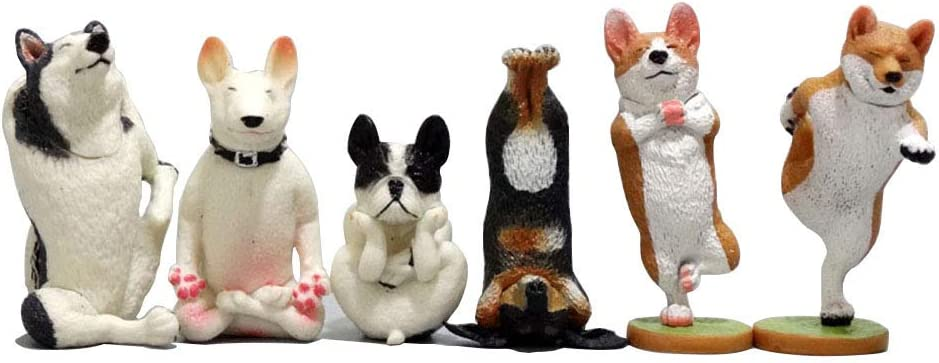 Funny Yoga Dog Team Figurines-Collectible Animal Set of 6, Miniature Fairy Garden and Terrarium Hand Made Table Decor Perfect for Gifts and Souvenirs