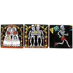 Mexicano 3de Talavera azulejo Conjunto hecho a mano Día de los muertos Collection 10,8cm D