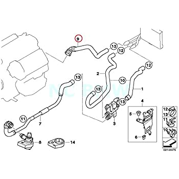 Amazon Com Bmw Genuine Hose F Radiator And Engine Return Automotive
