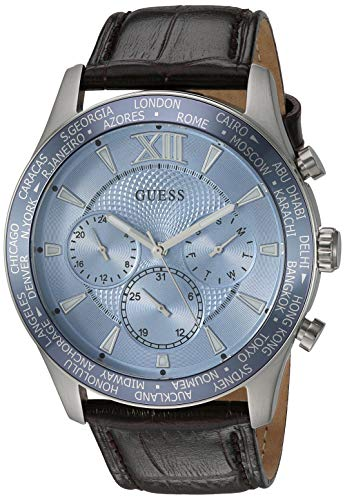 GUESS  Brown + Sky Blue Genuine Leather Chronograph Watch with Date Function. Color: Brown (Model: U1262G2)