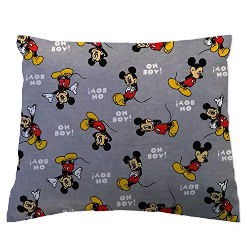 SheetWorld Crib/Toddler Flannel Baby Pillow Case - Oh Boy Mickey Mouse - Made in USA ()