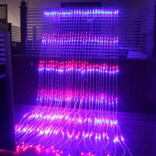 lichterkettenvorhang,LED Fairy Light, Wasserfall Wasserfall Lichterketten, Urlaub Vorhang Eiszapfen Licht, Hochzeit Christimas Party Decor Lichter Garland, Fee Lichterketten, lila, 3x6m