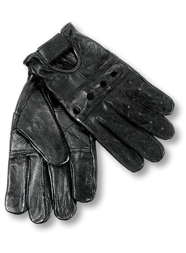 Black Gloves Leather Driving (Interstate Leather Men's Basic Driving Gloves (Black, Large))