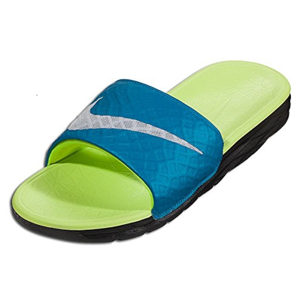 NIKE Women's Benassi Solarsoft Slide Sandal B011A2LGPE 7 B(M) US|Light Blue Lacquer/Pure Platinum/Black/Volt