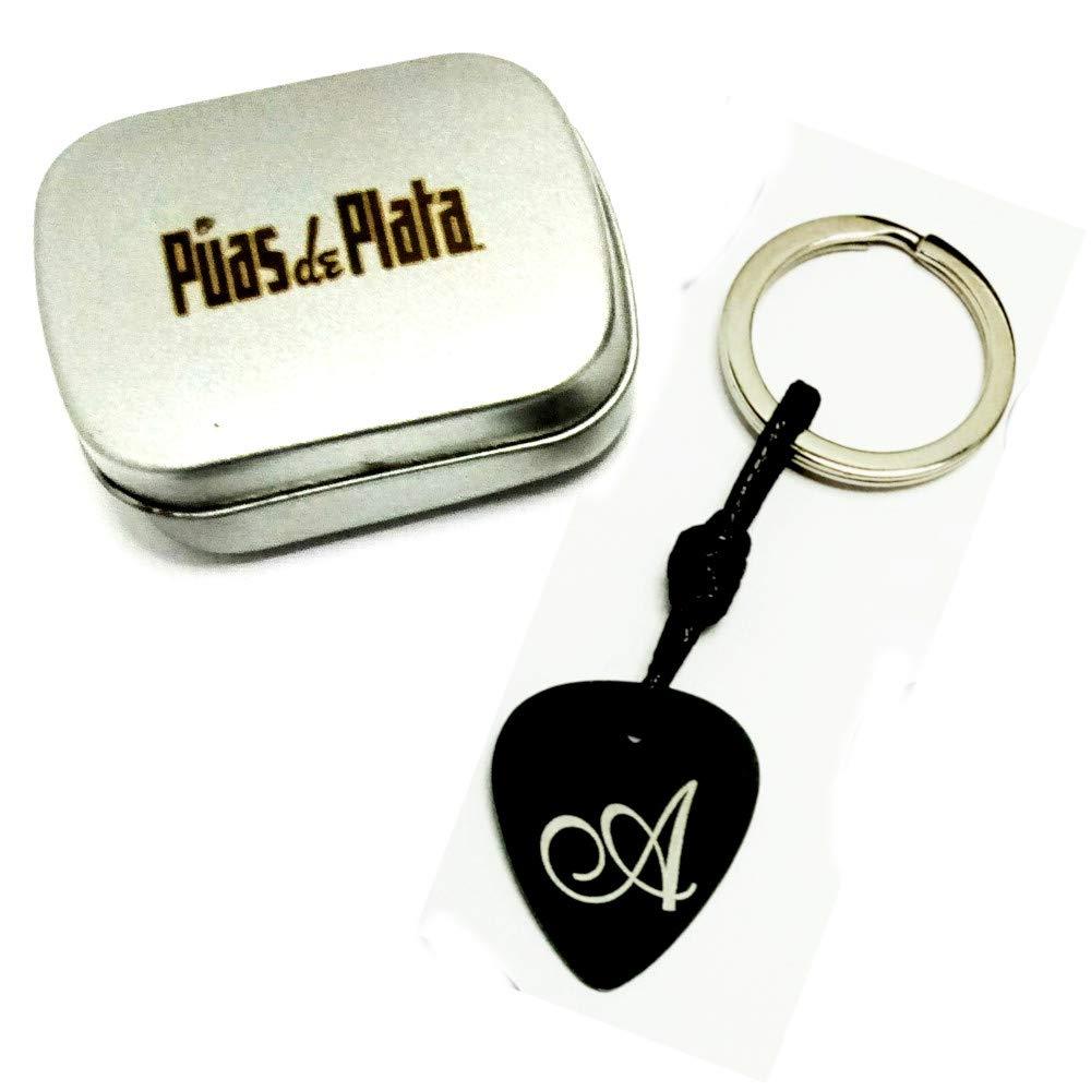 Llavero Púa Guitarra Aluminio Anodizado Negro con GRABADO ...