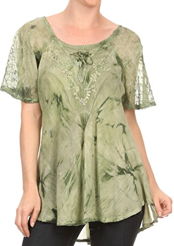 Sakkas 16483 - Hana Tie Dye Relaxed Fit Embroidery Cap Sleeves Peasant Batik Blouse/Top - Army Green - OSP