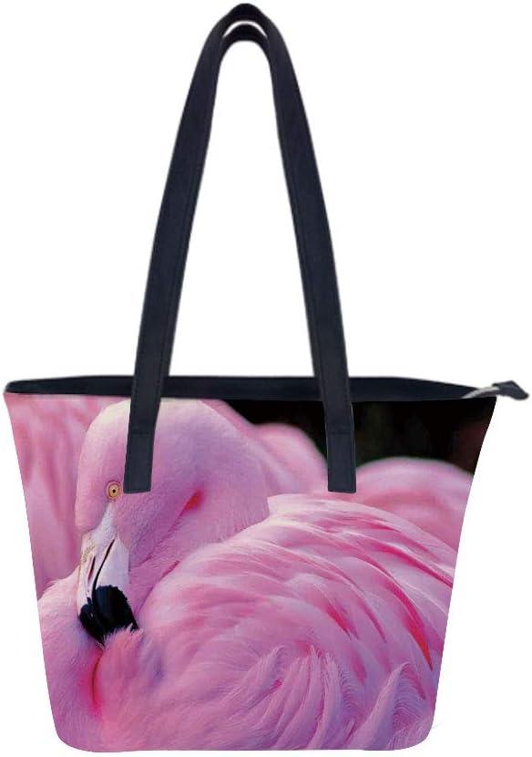 Flamingo Flock Over Women Leather Laptop Tote Office Shoulder Handbag Computer Briefcase