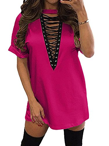 Women's Sexy Loose Halter V Neck Lace up Mini Club T Shirt Dress Rose 2XL
