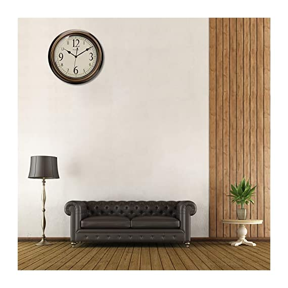 Plumeet Large Retro Wall Clock - 13'' Non Ticking Classic Silent Clocks Decorative Kitchen Living Room Bedroom - Battery Operated (Big Numbers) - 🕗 Plumeet advantage -- Vintage look; large size-13 inch; no ticking super quiet movement; big arabic numerals clear to read. large decorative for home & office, best gift for your family or friends. 🕗 Superior Movement Quality -- Reliable clock mechanism to guarantee accurate time, quiet sweep second hands ensure a good sleeping and work environment, this clock will definitely impress you. 🕗 Western Classical Style -- Antique and vintage style decoration, with practical and beautiful combination. clear display and convenient to read time with large number inside, very aesthetically pleasing. - wall-clocks, living-room-decor, living-room - 51225J1ufFL. SS570  -