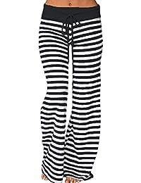 Women's Comfy Striped Drawstring Yoga Wide Leg Pajama Lounge Pants