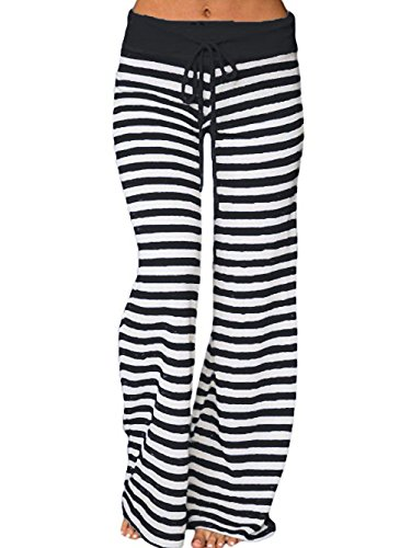 Famulily Women's Stretch Comfy Striped Drawstring Wide Leg High Waisted Pajama Pants (Small, Black)