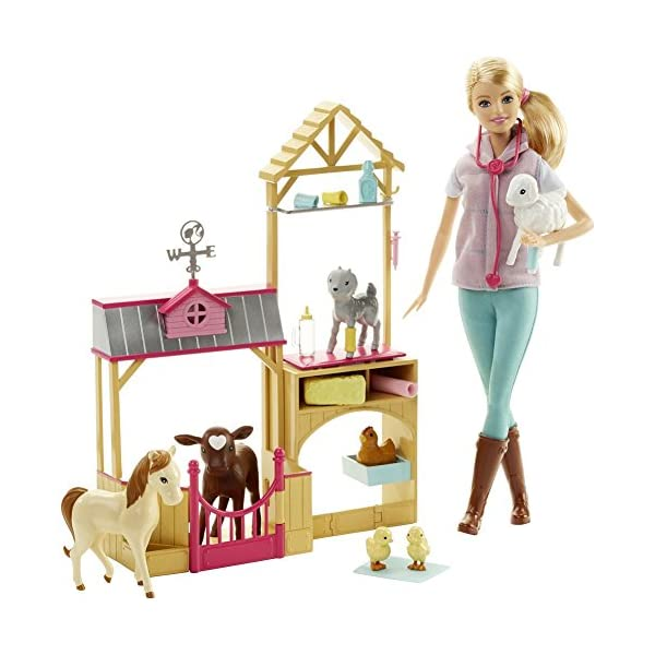 51225UpwolL. SS600  - Barbie Careers Farm Vet Doll & Playset