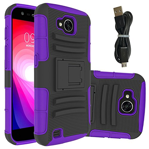 LG X venture case,LG X Calibur case,LG H700 case,LG LV9N case,LG V9 case With Micro USB 2.0 Cable,Wtiaw [Hybird Shockproof] [Slim Fit] [Scratch Resistant] [Impact Protection] for LG LV9-ZJ Purple ()