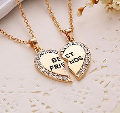 a90f8e8866d0 2pcs cristal mitad amor corazón colgante collar de mejores amigos amistad  regalo - oro  Amazon.es  Joyería
