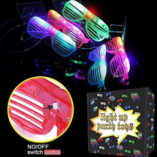Randosk 24 Pack LED Glasses Glow in The Dark Party Favors Supplies for Kids Light Up Toy Bulk with Flash Light 3 Replaceable Battery for Mother's Day Birthday Holiday Outdoor Party by Randosk (Image #3)
