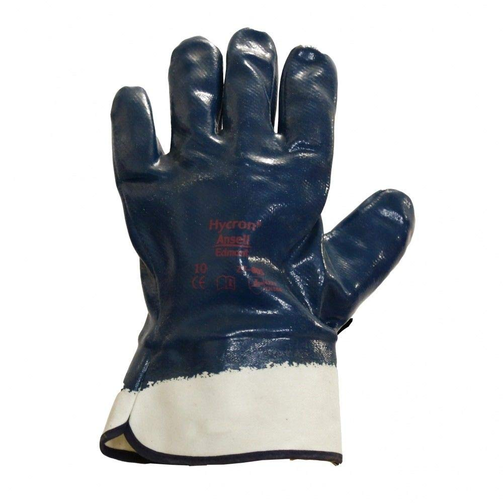 ANSELL HYCRON Blue Fully Coated Nitrile Protective Gloves Oil Cut Resistance (9 - Large) Unbranded