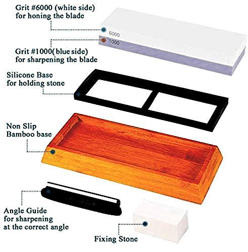 Messerschärferstein-Set, doppelseitig, 1000/6000er Körnung, Wasserstein, professioneller Schleifstein mit rutschfestem Silikonhalter und Bambusblock, Honing-Wasserstein