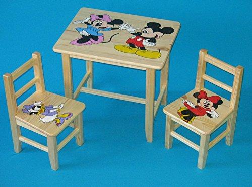 Set in legno tavolino con 2 sedie per cameretta bambini. M20. Ottima idea regalo.Completo in pino con disegno a mano. ipp