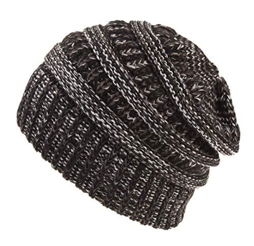 Spikerking Womens Motley Outlet Ponytail Hat High Bun Knit Warm Winter Beanie,Black Gray White