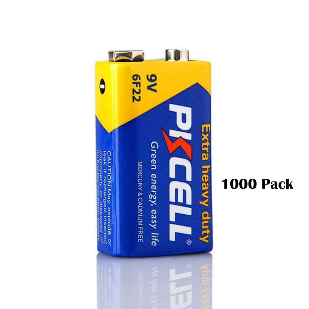 PKCELL 9V 6F22 Super Heavy Duty Batteries (1000 Pack)