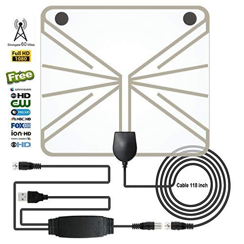 (Indoor Digital HDTV Antenna,Digital TV Antenna Amplified 50-100 Miles Signal Booster 4K HDTV Antenna Best Upgraded Transparent Style Indoor Antenna for Digital TV 1080P)