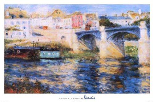 Pierre Auguste Renoir Bridge at Chatou Art Print Poster 36 x 24in