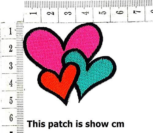 Colorful Pink Green Orange Heart Cartoon Chidren Kids Embroidren Iron Patch/Logo Sew On Patch Clothes Bag T-Shirt Jeans Biker Badge Applique