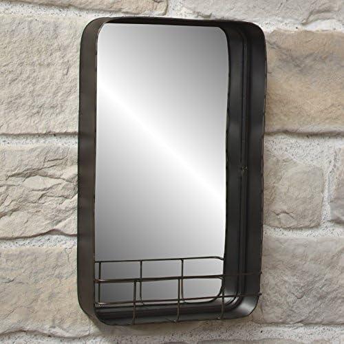 La Sonora Deco Espejo Industrial campaña Estante para Metal Hierro Pared 30 x 50 x 10 cm: Amazon.es: Hogar