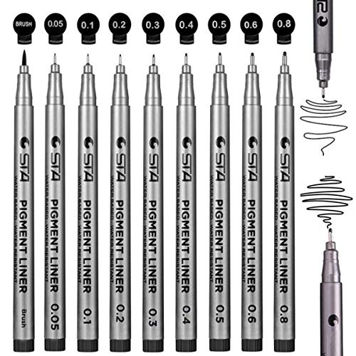 Black Micro-Pen Fineliner Ink Pens Waterproof Archival Ink Pen Pigment Fine Point Liner Pen for Sketching Anime Artist Illustration Technical Drawing Office Documents Comic Manga ()