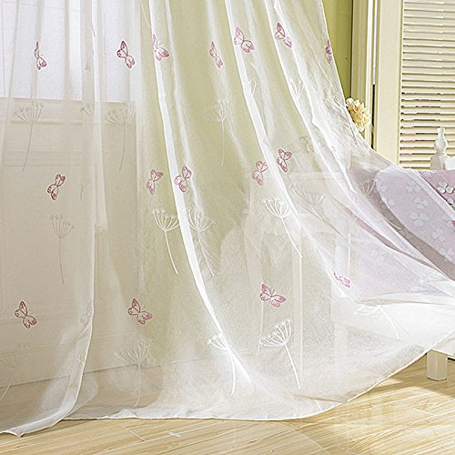 TIYANA Butterfly Embroidery Sheer Curtains Rod Pocket Top Window Panels Lace Sheer Curtain Drapes Shade Voile Door Screen Sheer Scarf Valances For Girls Room , 1 Panel, W42''x L96''