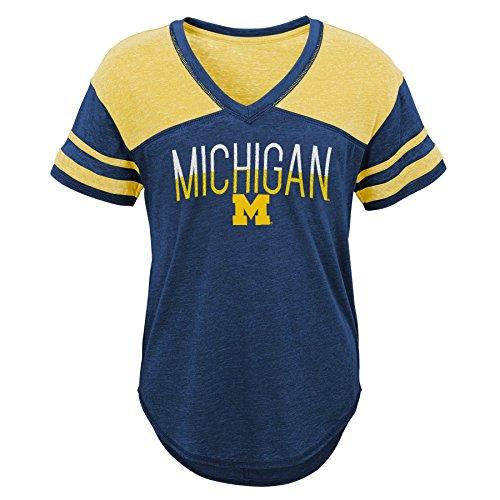Gen 2 NCAA Michigan Wolverines Juniors Traditional Short Sleeve Tee, Juniors Medium(7-9), Dark Navy