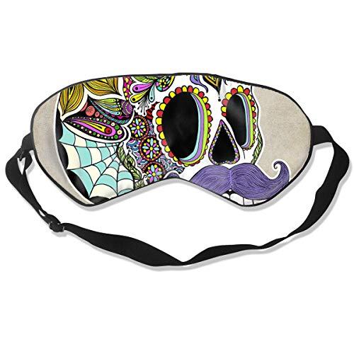 Eye Mask Mustache Sugar Skull Vintage Soft Eye Cover for Sleeping Travel Blindfold for Women Men Comfy and Lightproof