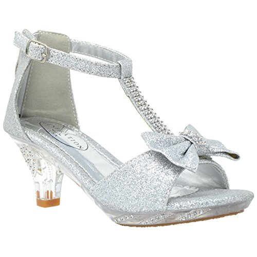 (Generation Y Kids Dress Sandals T-Strap Rhinestone Glitter Clear High Heel Shoes Silver SZ 5)