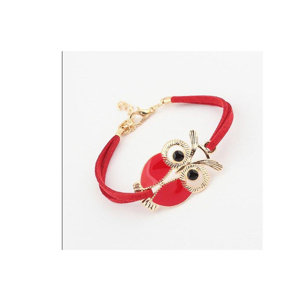 Faux Leather Bracelets Buedvo Vantage Womens Girls Vintage Owl Decoration (Red)