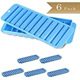 Set of 6 - TrueCraftware Sport Bottle Narrow Ice Stick Cube Trays with Covers