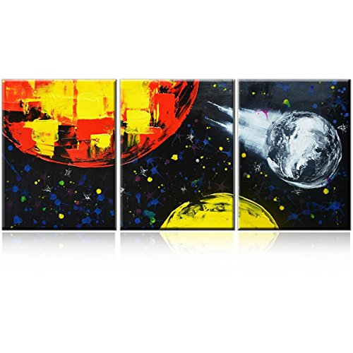 """Oil Painting Modern Canvas Framed Abstract Art 16x36inches""""universe"""" 3-Piece Gallery-Wrapped Wall Art on Canvas Ready to Hang for Living Room for Wall Decor Home Decoration by Delma(TM)"""